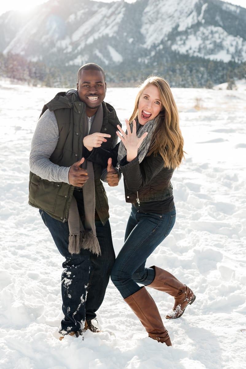Surprise Winter Proposal | Engagement Photography | Chautauqua Park Boulder | From The Hip Photo
