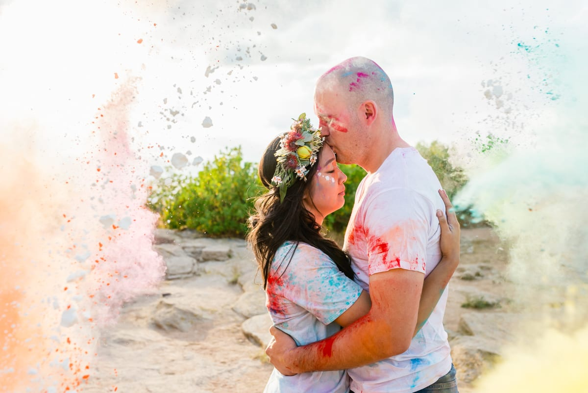 Chalk Fight | Engagement Photography | Daniels Park | From the Hip Photo
