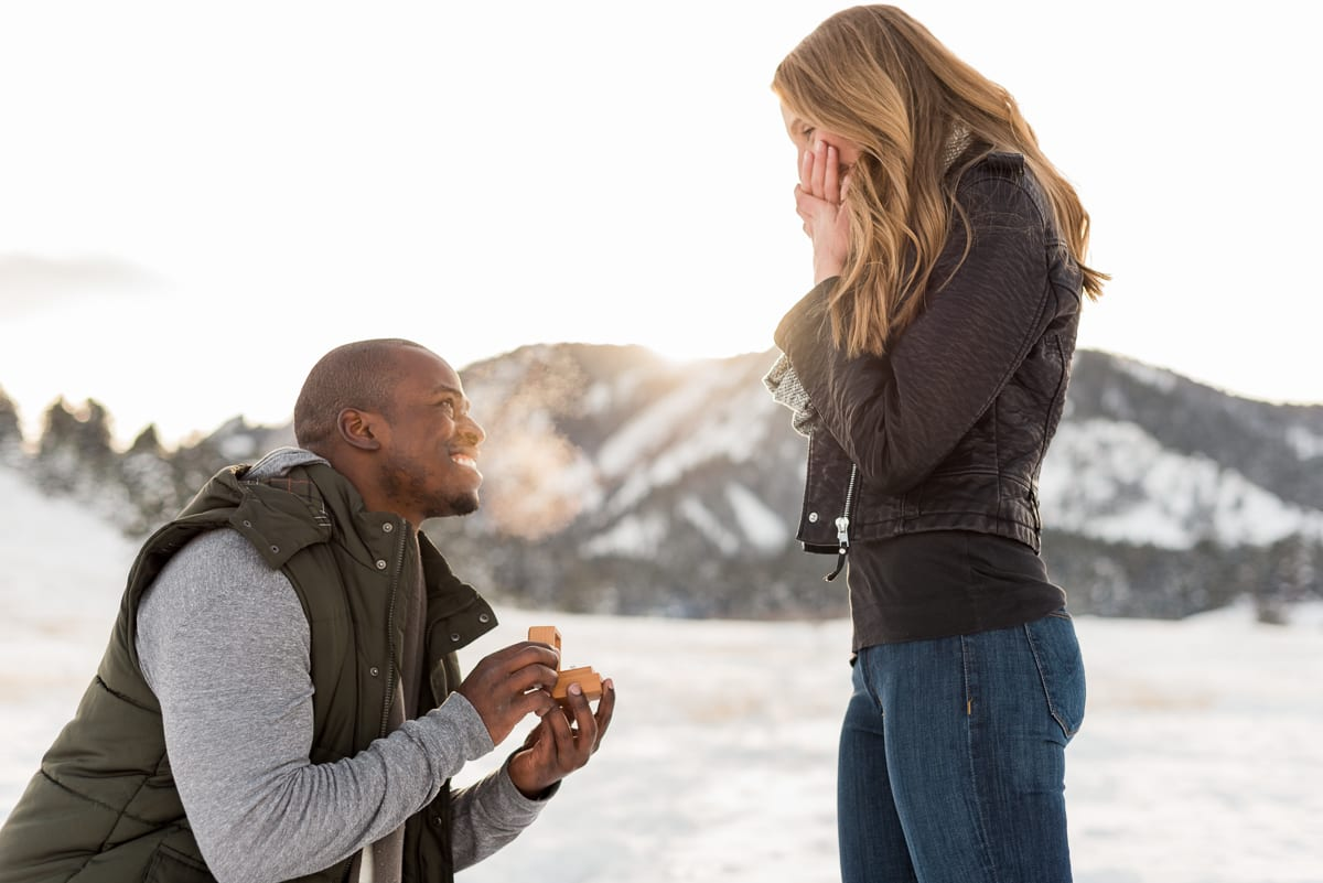 Surprise Winter Proposal   Engagement Photography   Chautauqua Park Boulder   From The Hip Photo