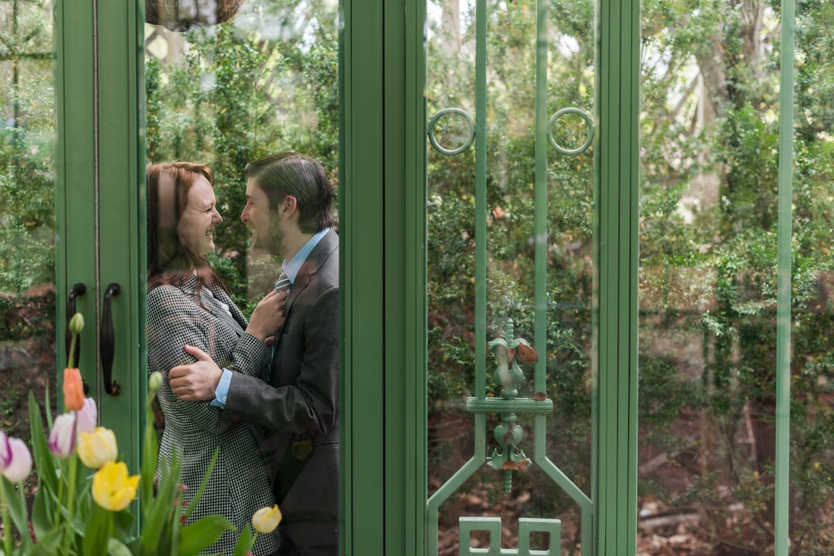 Denver Botanic Gardens engagement portrait