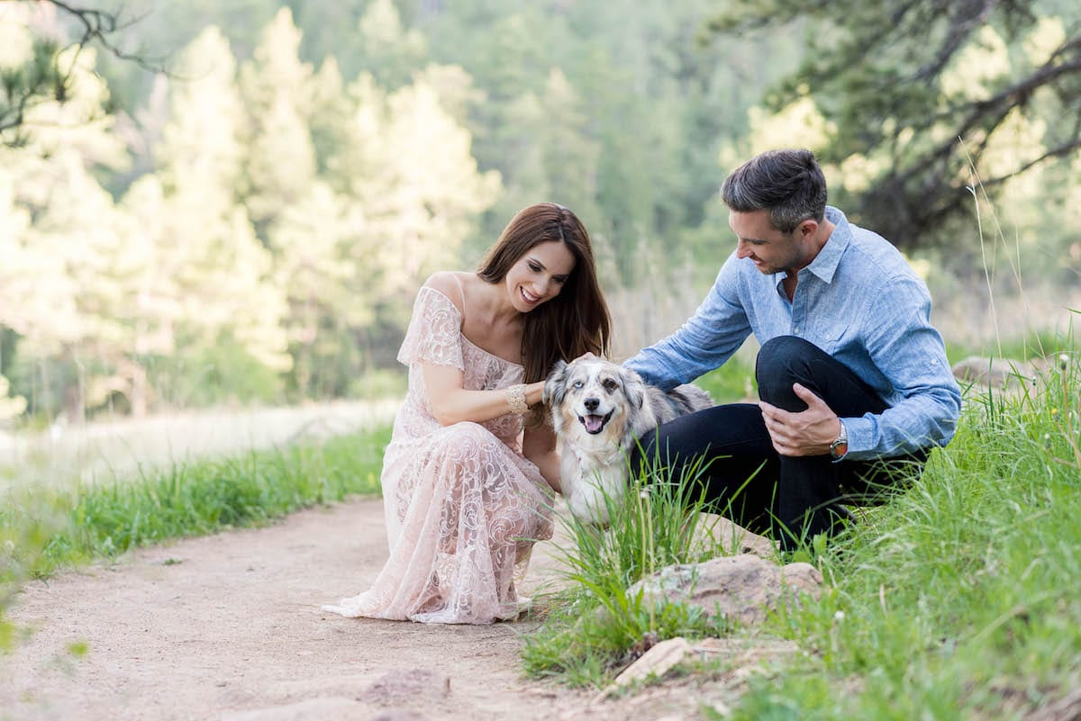 Engagement portrait with dog | Pets In Human Photo Session