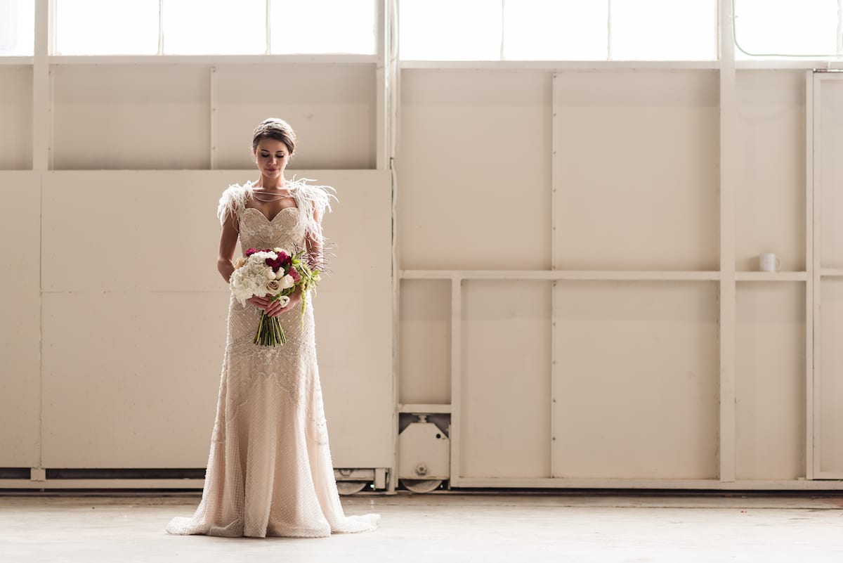 Styled bridal portrait at The Hangar at Stanley in Aurora, CO