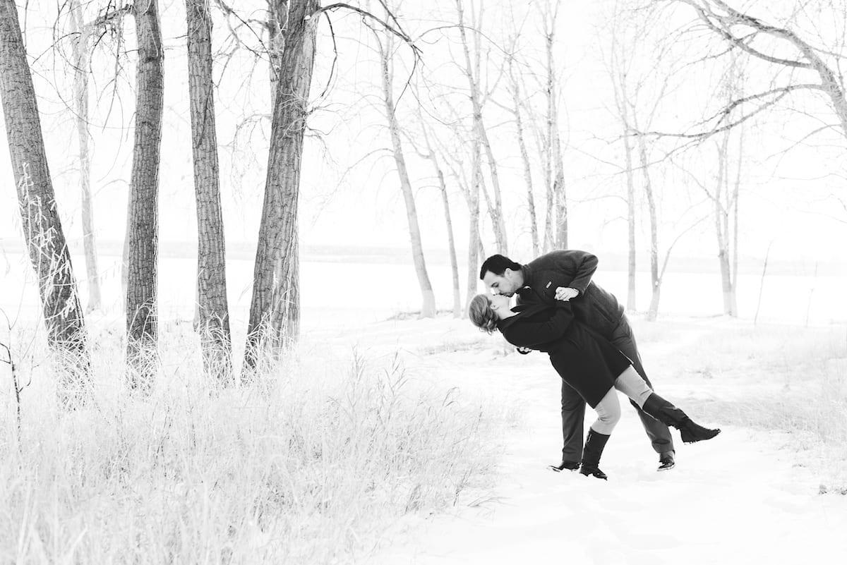 cherry creek state park engagement photos, a couple kissing.