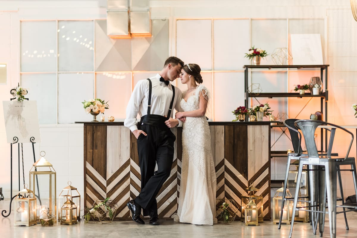 Styled wedding portrait at The Hangar at Stanley in Aurora, CO