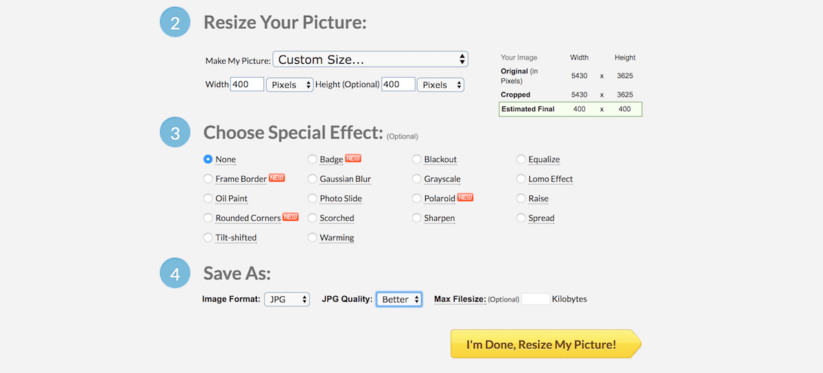 picresize.com screenshot