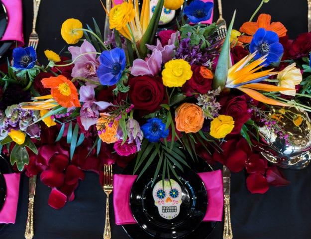 Colorful Day of the Dead inspired floral centerpiece