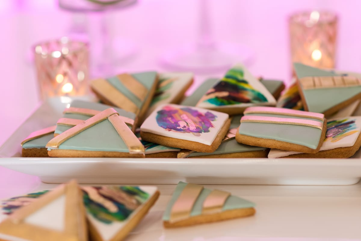 pastel cookies with golden elements