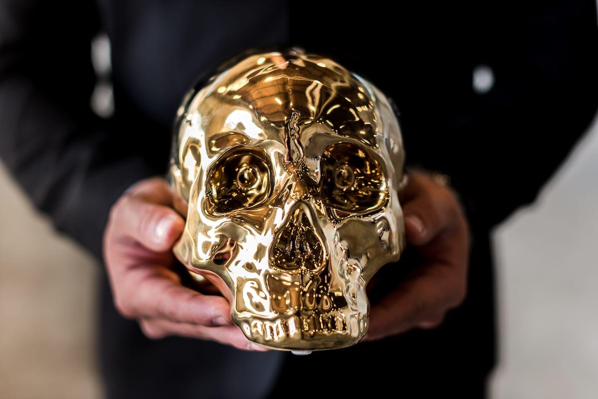 Golden skull prop