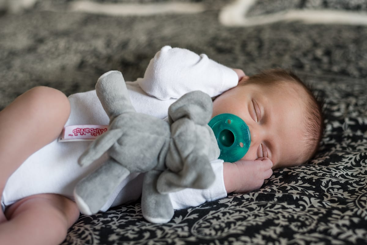 Newborn with pacifier in mouth and stuffed elephant