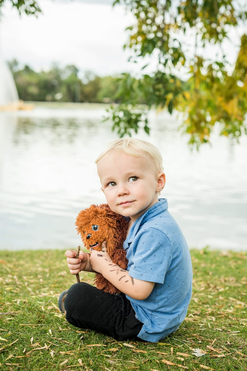 Baby boy holds Chewbacca plush | Family Photography | From the Hip Photo