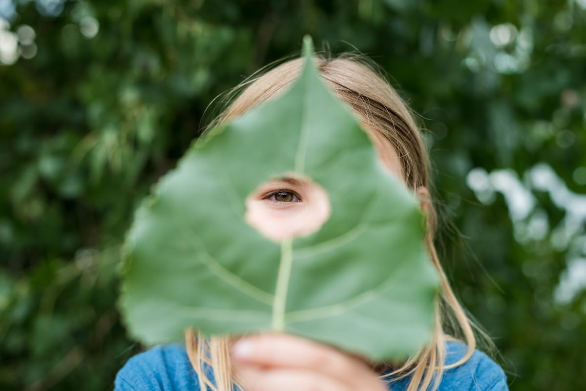 Girl looks through leaf | Family Photography | From the Hip Photo