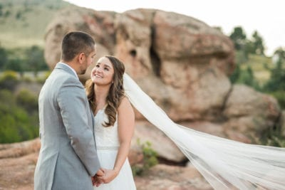 Bride and Groom look lovingly at each other at Willow Ridge Manor