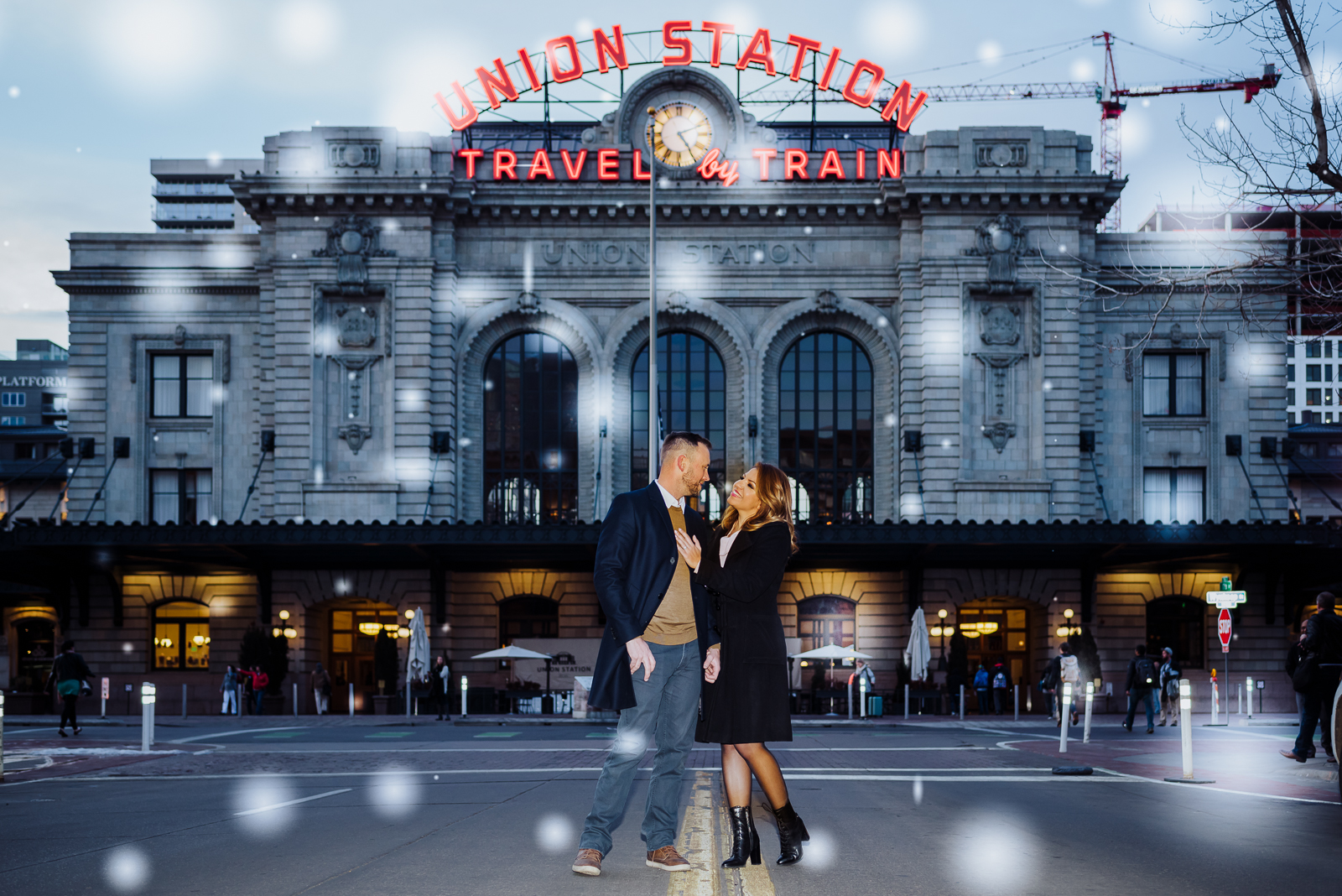 The Quintessential Denver Engagement | Engagement Photo | Union Station Millennium Bridge | From the Hip Photo