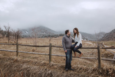 Cozy Spring Engagement Session at Foggy Chautauqua Park