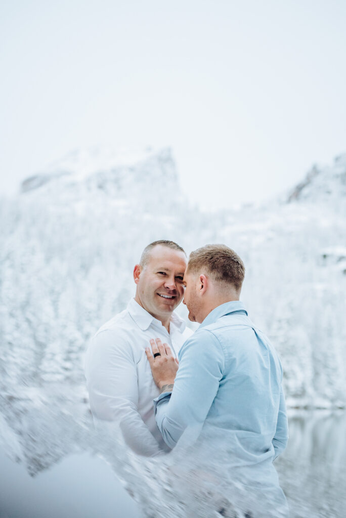 Rocky Mountain National Park outdoor nature park lake candid fun romantic engagement picture | From the Hip Photo portrait photography