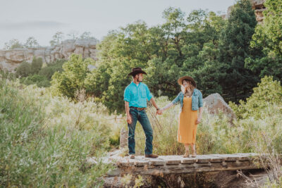 Castlewood Canyon Franktown Colorado outdoor mountain trail candid adventurous fun engagement family pictures | From the Hip Photo portrait photography