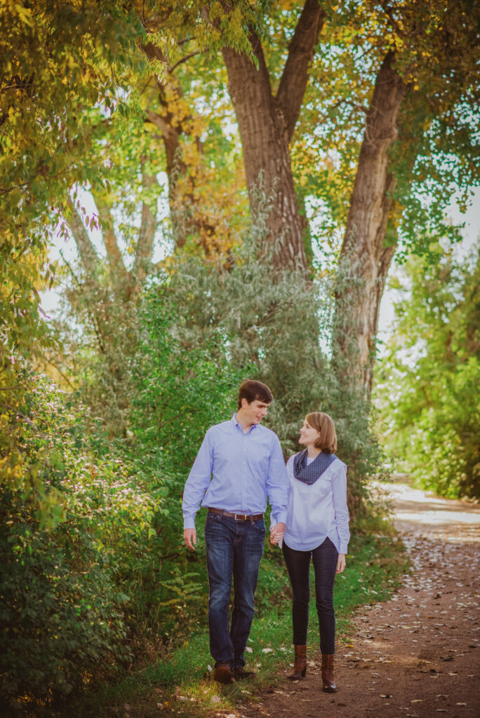 High Line Canal outdoor nature trail fun adventurous candid engagement picture   From the Hip Photo Denver Colorado portrait photography