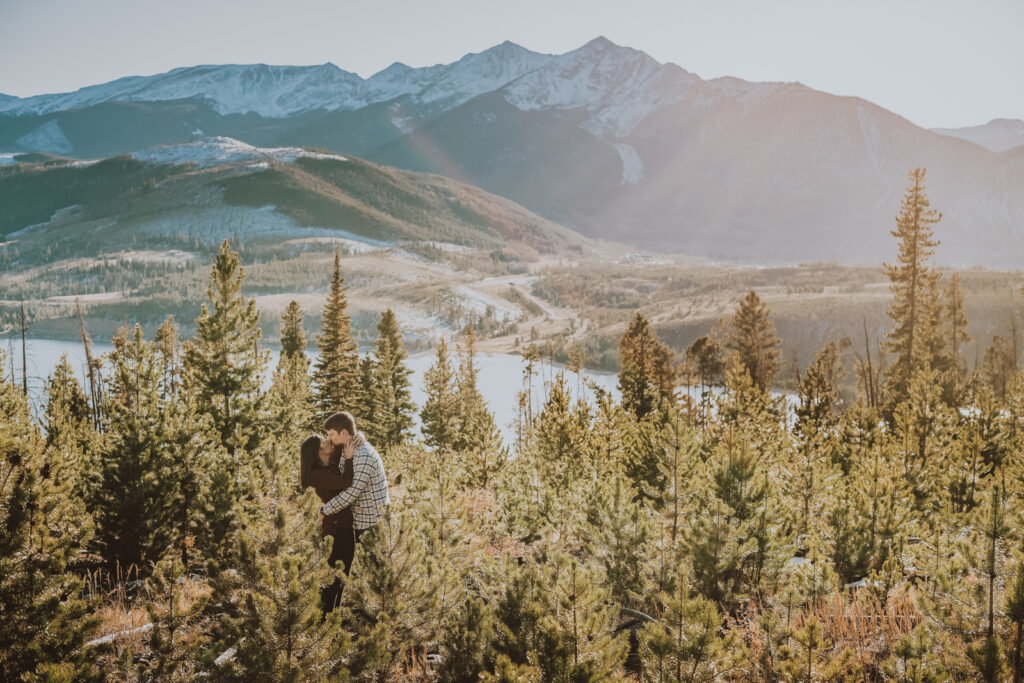 Sapphire Point Dillion Colorado outdoor mountain lake trail nature candid fun loving engagement picture | From the Hip Photo Denver portrait photography