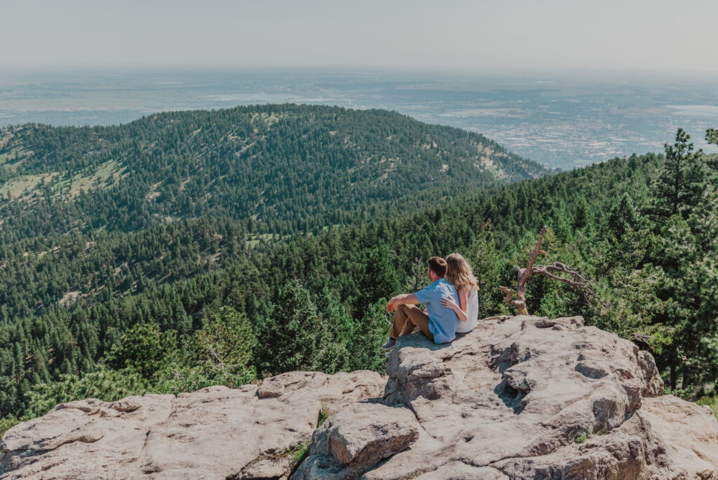 Lost Gulch Overlook Boulder Colorado outdoor mountain views fun candid romantic engagement pictures | From the Hip Photo portrait photography