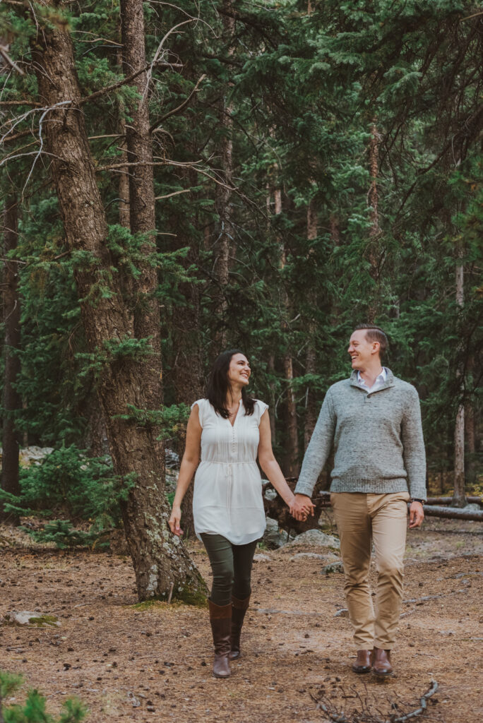 Guanella Pass outdoor mountain nature candid fun loving adventurous engagement picture | From the Hip Photo Denver Colorado portrait photography