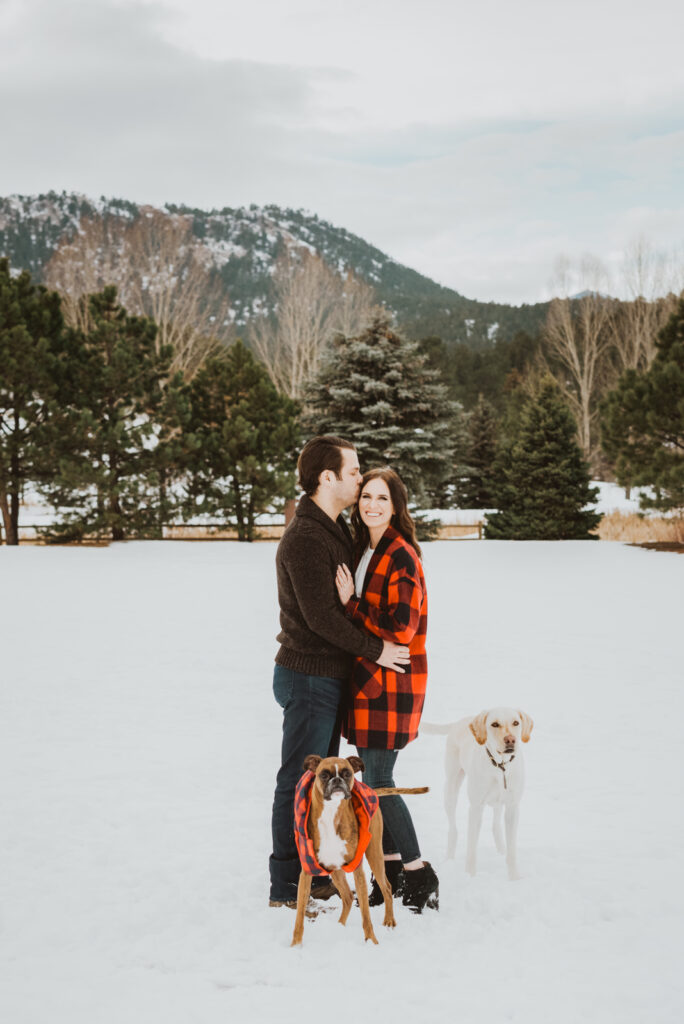 Evergreen Lake House outdoor lake nature trail adventurous candid fun engagement picture | From the Hip Photo Denver Colorado portrait photography
