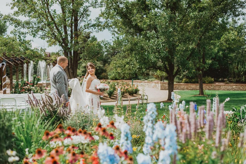 Hudson Gardens outdoor garden park  floral plants candid fun loving wedding picture | From the Hip Photo Denver Colorado portrait photography