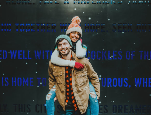 Downtown Denver Dairy Block outdoor urban fun candid romantic engagement picture | From the Hip Photo Denver portrait photography