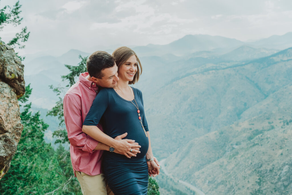 Lookout Mountain Golden Colorado outdoor mountain nature candid fun maternity picture | From the Photo Denver portrait photography