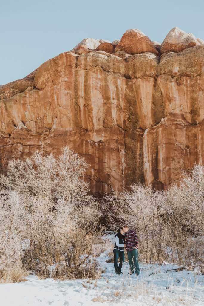Roxborough State Park Littleton Colorado outdoor nature red rock adventurous candid fun engagement picture | From the Hip Photo Denver portrait photography