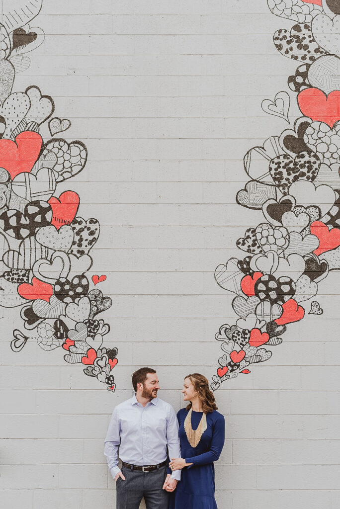 RiNo Art District Denver Colorado mural bold hippy fun candid colorful engagement picture   From the Hip Photo portrait photography