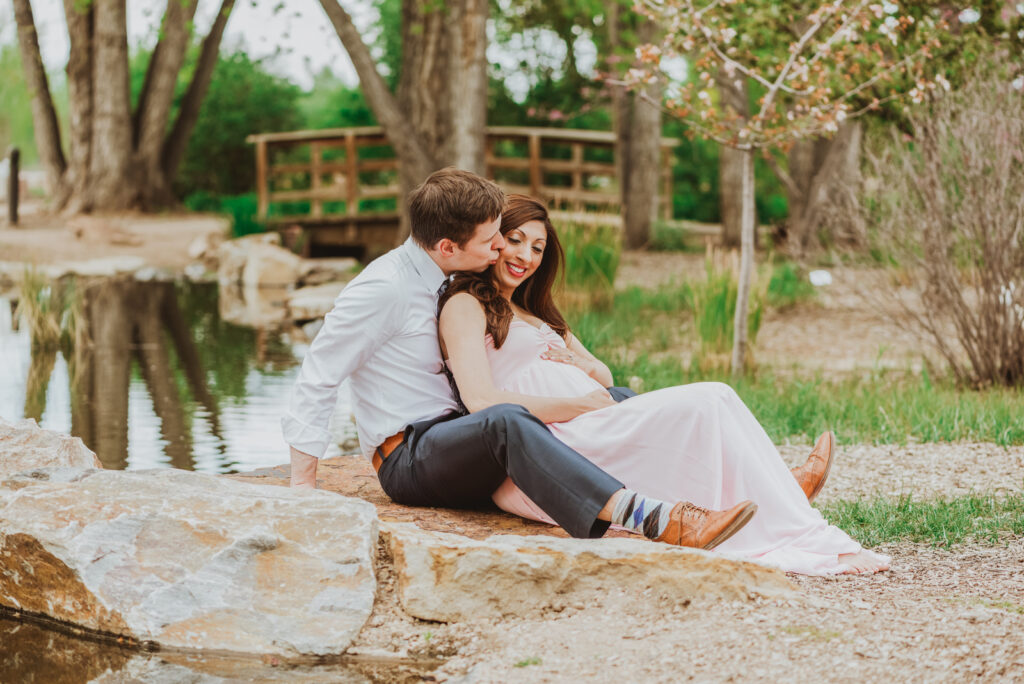 Hudson Gardens outdoor garden park  floral plants candid fun loving maternity picture | From the Hip Photo Denver Colorado portrait photography