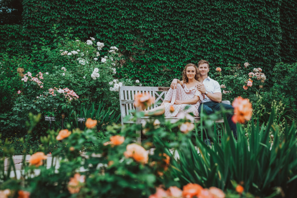 Denver Botanic Gardens Outdoor nature fun candid romantic engagement picture | From the Hip Photo Portrait Photography