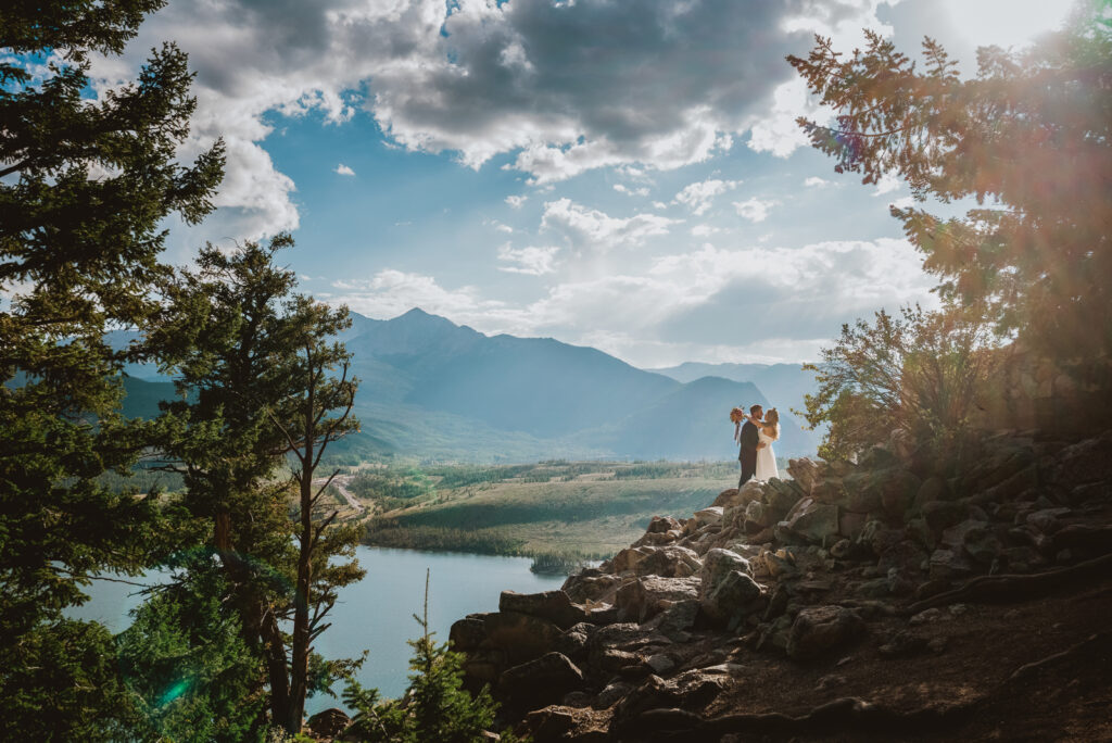 Sapphire Point Dillion Colorado outdoor mountain lake trail nature candid fun loving wedding picture | From the Hip Photo Denver portrait photography