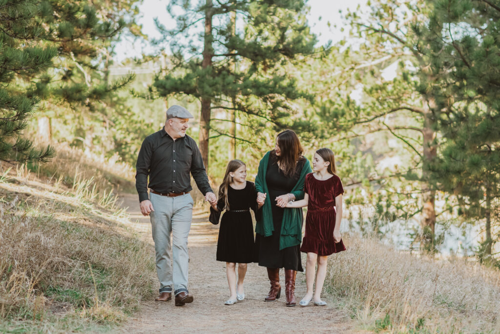 Evergreen Lake House outdoor lake nature trail adventurous candid fun family picture | From the Hip Photo Denver Colorado portrait photography