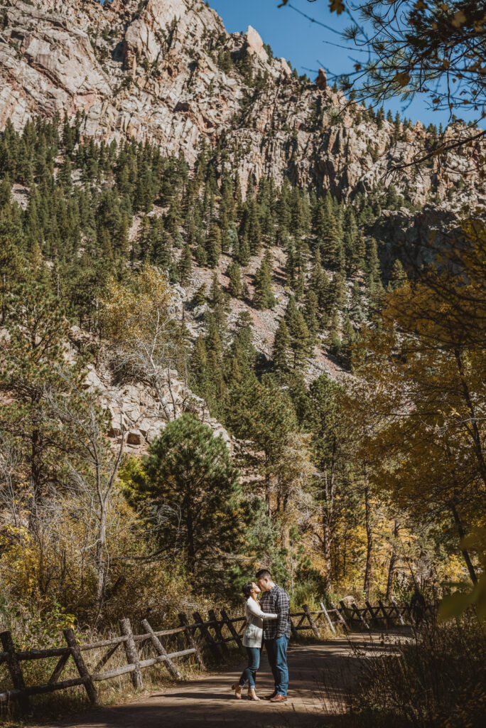S. Mesa Trail and Eldorado Canyon outdoor nature trail candid fun romantic engagement picture | From the Hip Photo portrait photography
