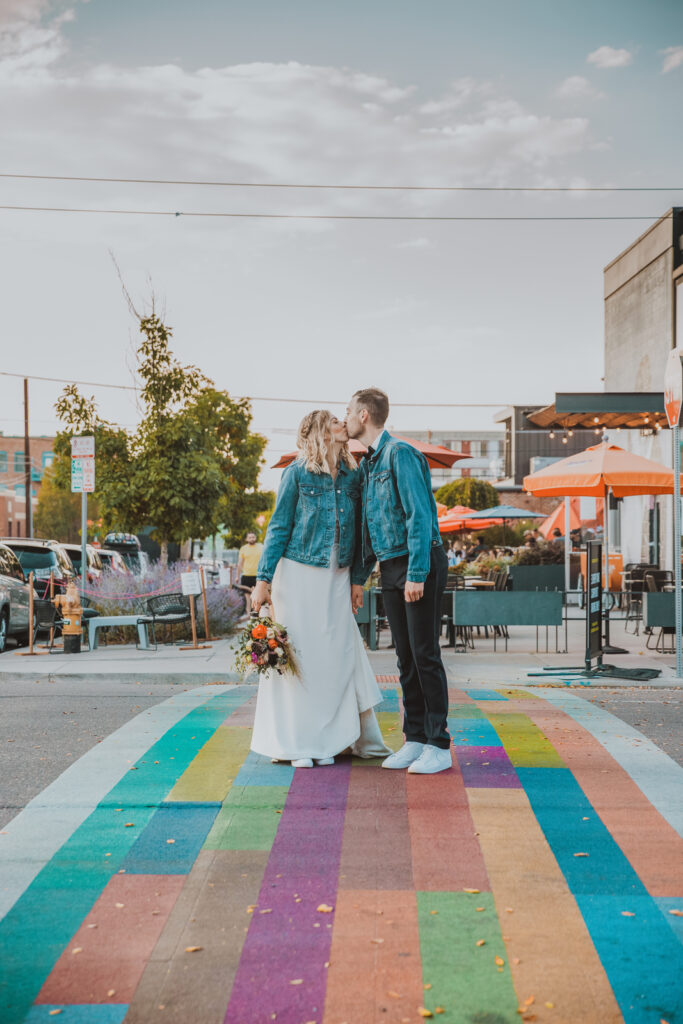 RiNo Art District Denver Colorado mural bold hippy fun candid colorful engagement wedding picture   From the Hip Photo portrait photography