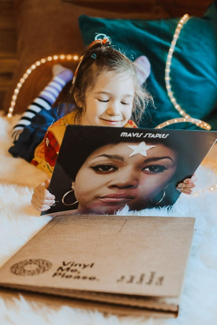Girl with LP - Vinyl Record Commercial Photography | From the Hip Photo