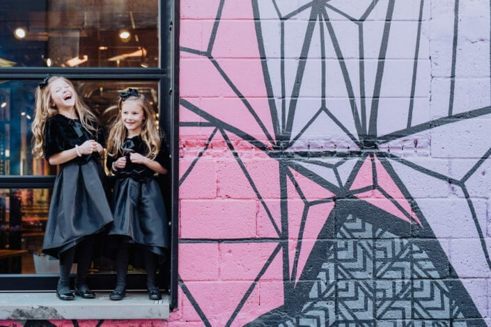 Fun Candid Colorful Family Pictures in Downtown Denver | From the Hip Photo