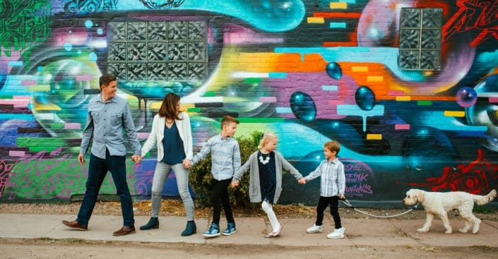 Cool Colorful Outdoor Family Photos in RiNo Denver | From the Hip Photo