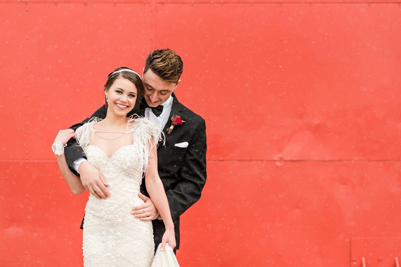 Colorful Winter Wedding Photo | Denver Colorado Wedding Photographer