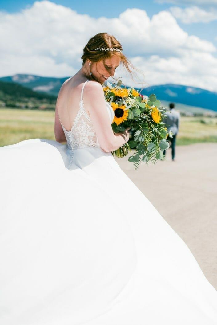 Wedding Bride and Flowers Photo   Colorado Elopement Photographer