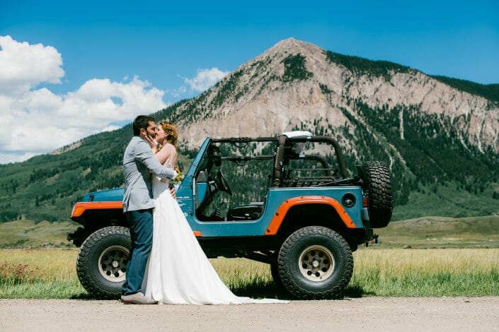 Fun Mountain Wedding Photo with Jeep   Colorado Elopement Photographer