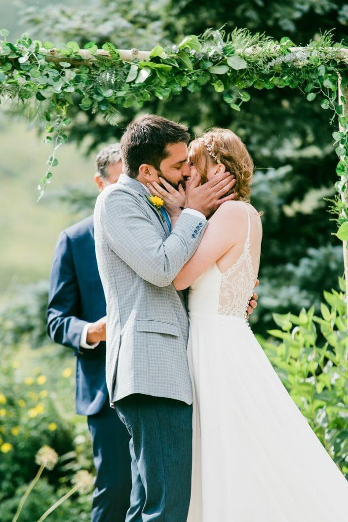 Mountain Wedding Ceremony Kiss Photo   Colorado Elopement Photographer
