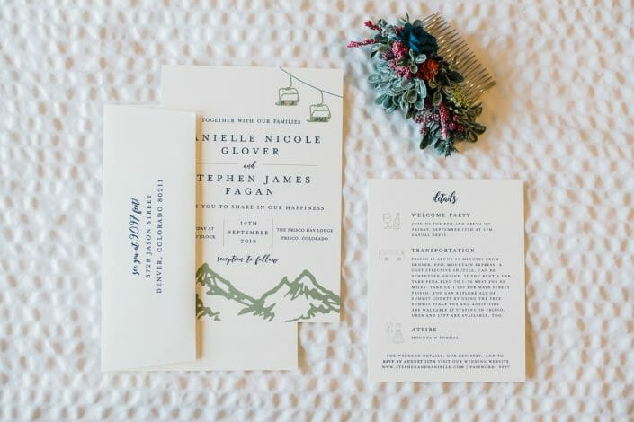 Romantic Mountain Wedding Invitation | Denver Colorado Elopement Photographer