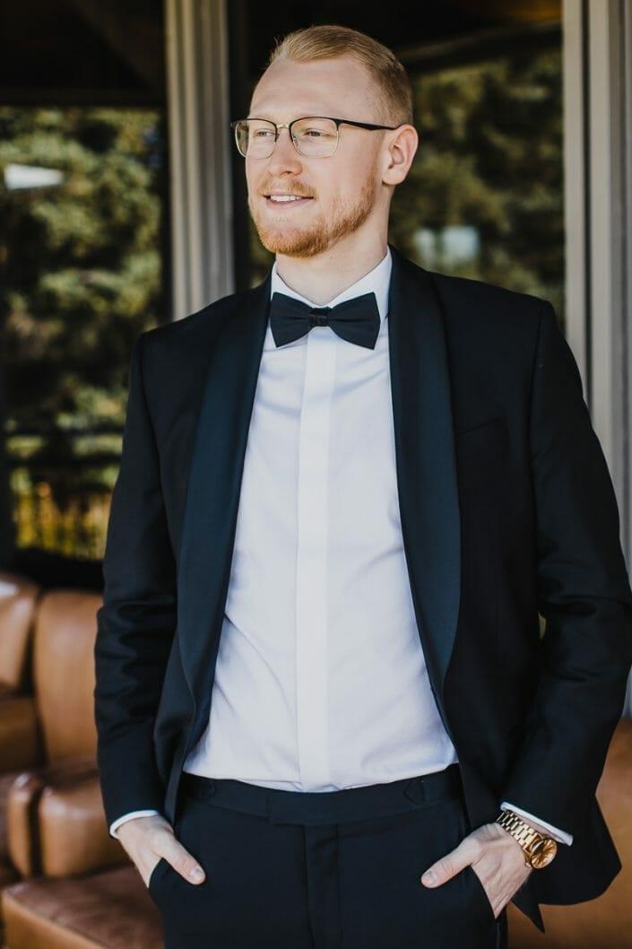 Elegant Groom Wedding Portrait | Bouldaer Colorado Elopement Photographer