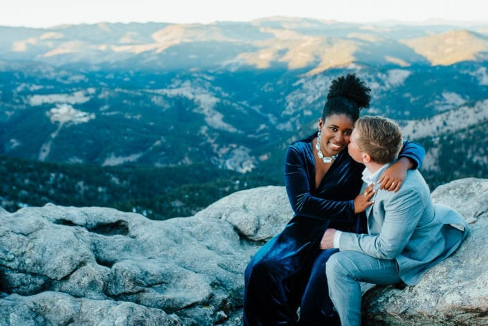 Romantic Mountain Engagement Picture at Sunset Dusk | Denver & Boulder Elopement Photographer