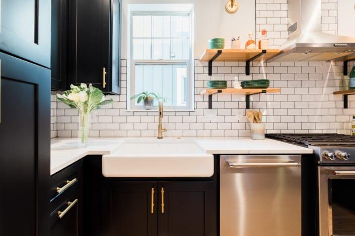 White and Black Kitchen Photo | Colorado Real Estate Photographer
