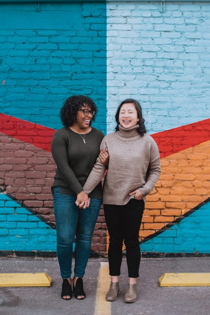 Same sex engagement photo session in downtown RiNo Denver | Colorado LGBTQ friendly photographer