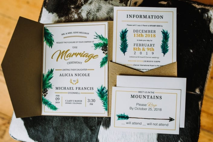 Mountain Winter Wedding Invitations | Colorado Elopement Photographer