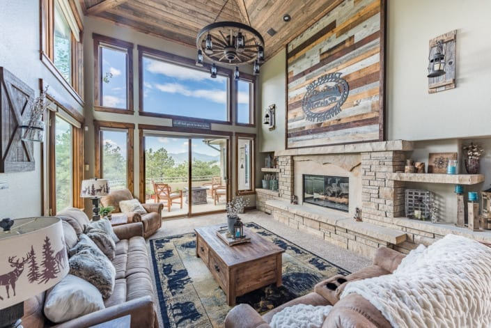 Tall Open Rustic Living Room Photo | Colorado Real Estate Photographer